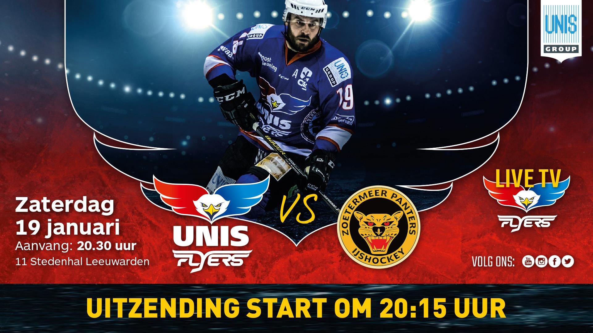 ivestream IJshockey Unis Flyers vs. Zoetermeer Panters 12 januari 2019 20:15 uur